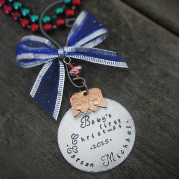 Personalized Ornament Hand Stamped Christmas Ornament Babys First Christmas Ornament Gift First Christmas Ornament Gift