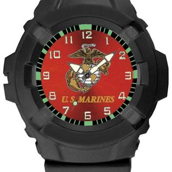 Aqua Force Marine Corps Insignia Combat Field Watch w/ Red Face (50M water resistant)