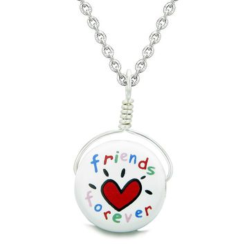 Handcrafted Cute Ceramic Lucky Charm Best Friends Forever Amulet Pendant 22 Inch Necklace