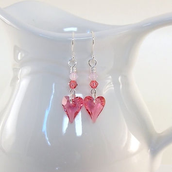 Earrings Two Tone Pink Swarovski Hearts