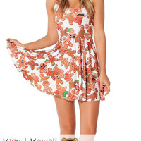New Ginger Man Print Sleeveless Skater Dress Spring and Summer Cloth KK686