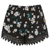 **Lace Trim Daisy Print Shorts by Glamorous - Shorts - Clothing
