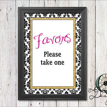 Single Image digital download Event Signs Black Gold and Pink Wedding Birthday Baby Shower Party Decor Party Supply Favors please take one