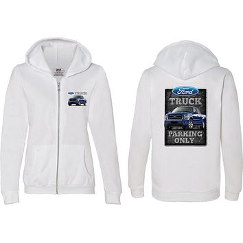 Ladies Ford Truck Full Zip Hoodie Parking Sign Front and Back
