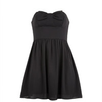 Bow-Front Party Dress - Black