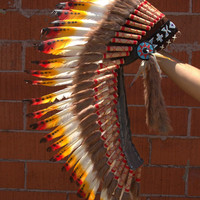 "Indian Headdress Classic Medium Native American Inspired Chief Hat Hand Made Indian War Bonnet (36"")"