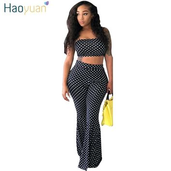 HAOYUAN Polka Dot Sexy Two Piece Set Women Clothes Summer Outfits Spaghetti Strap Crop Tops+Flare Pant Suit 2 Pcs Matching Sets