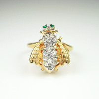 Vintage 18K HGE Gold Rhinestone Bee Bug Ring
