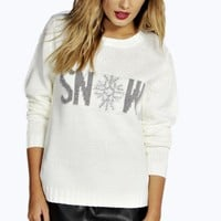Isabella Tinsel Snow Christmas Jumper