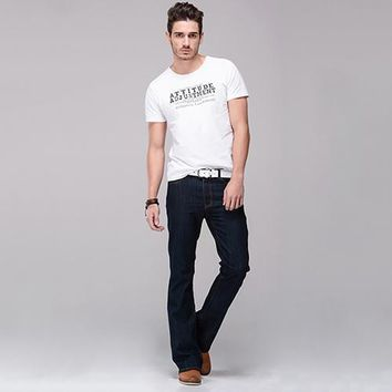 Men Classic Mid Rise Boot Cut Leg Slightly Flared Bell Bottom Jeans Denim Pants trouse