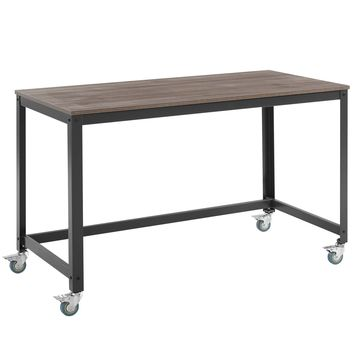 Vivify Industrial Modern Computer Writing Desk Gray / Walnut