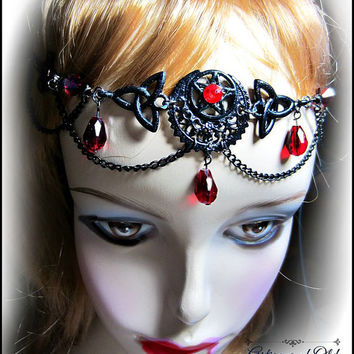 Black Circlet w/ Red Teardrops, Ritual Circlet, Gothic Wedding, Pentacle Crescent Headdress, Choose Color