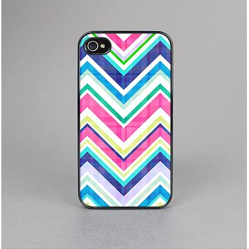 The Vibrant Pink & Blue Layered Chevron Pattern Skin-Sert Case for the Apple iPhone 4-4s