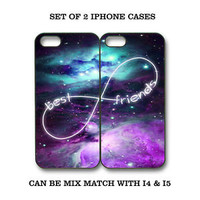Custom Mint Purple Nebula BFF Best Friends Case -2 Cases for iPhone 6S 5C S4 S5