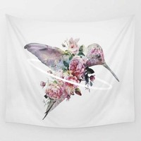 Cute Floral Hummingbird Wall Hanging Tapestry