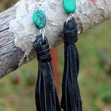Kiowa Black Fringe Turquoise and Suede Earrings from Crazy Train