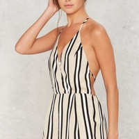 Over the Line Striped Romper