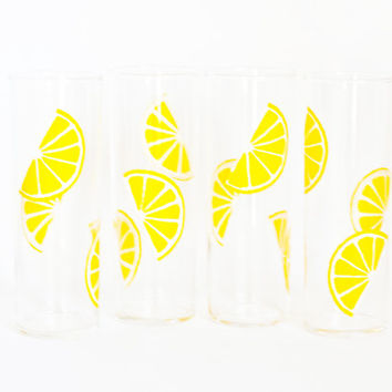 Vintage Federal Glass Lemon Print Tumblers, SET of 4 Highball Drink Glasses, Like New Mid Century Barware