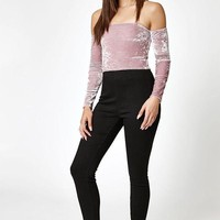 DCCKYB5 Kendall and Kylie Velvet Off-The-Shoulder Top