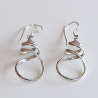 Silver Alpaca Organic Twist Dangle Statement Minimalist Earrings, Womens Earrings, Silver Dangle Earrings