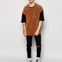 ASOS T-Shirt With Suedette Panel In Oversized Fit And Super Step Hem