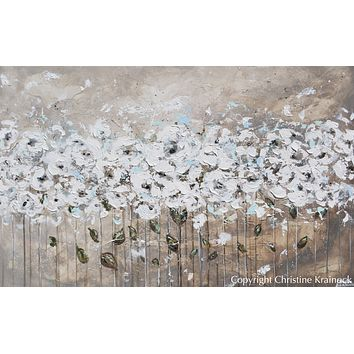 """""""Beautiful Moments"""" CUSTOM Art Abstract Painting Textured White Flowers Grey Taupe Blue Neutral"""