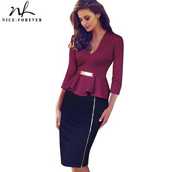 Nice-forever Casual Elegant Work Peplum Vintage dress Stylish Office Lady Patchwork 3/4 Full Sleeve Ruffle Pencil Dress b241