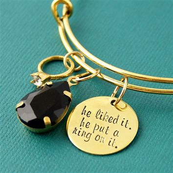 He Put a Ring on It - Adjustable Bangle Bracelet - Spiffing Jewelry