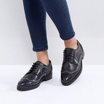 ASOS MONTEREY Leather Studded Flat Shoes at asos.com