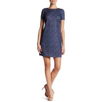 Denim Print Scuba Shift Dress (Petite)