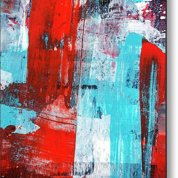 Turquoise And Red Abstract Painting Metal Print