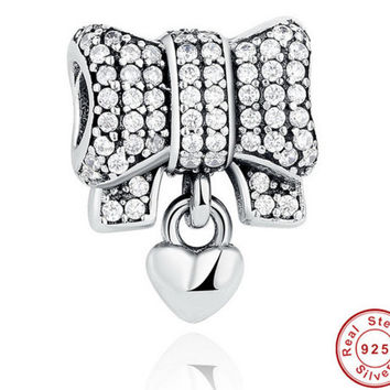 Authentic 925 Sterling Silver Knot Heart Charm Fit Original PANDORA