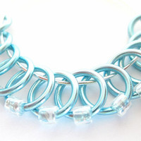 Medium Handmade stitch markers   Stitchmarkers   Snagless stitchmarker   Knitting supplies   light blue rings; clear beads   #0593