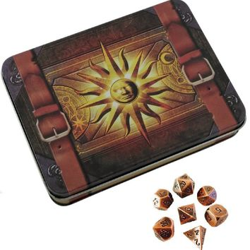 Cleric's Prayer Book with Antique Brass Color with Black Numbers Metal Dice