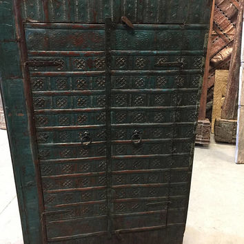 Antique Blue Iron Cladded Rustic Wood Armoire Cabinet Southern Distressed Eclectic TUSCAN Decor Southern 18c FREE SHIP