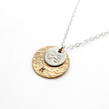 Personalized Om Necklace - Sterling Silver or Gold Yoga Jewelry - Rebecca Tollefsen x Mountain Base Yoga