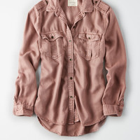 AE Military Button Up Shirt, Blush