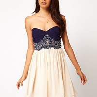 Little Mistress | Little Mistress Lace Bustier Prom Dress at ASOS