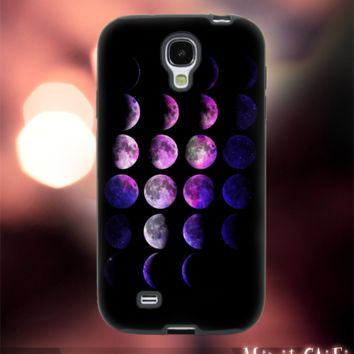 MC249Y,16,Nebula,Galaxy,Moon,Phases -Accessories case cellphone- Design for Samsung Galaxy S5 - Black case - Material Soft Rubber