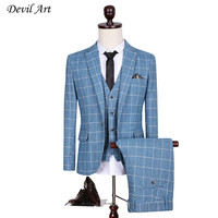 Men's Custom Slim Fit Side Slit Light Blue Plaid Dress Notch Lapel Tuxedos Business Suit