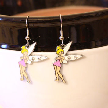 Bright Pink Tinkerbelle Charm Earrings with Rhinestones - cartoon fairy princess earrings - peter pan tinkerbell tinker bell