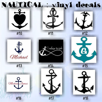 NAUTICAL ANCHORS vinyl decals - 10-18 - anchor vinyl sticker - car window sticker - personalized vinyl decal