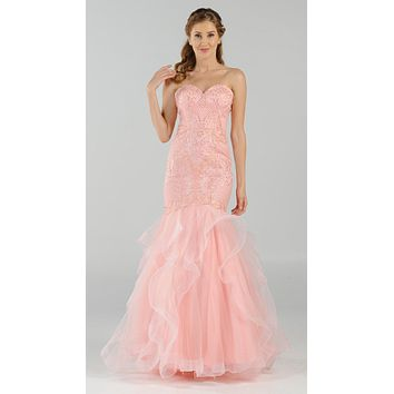 Strapless Tiered Mermaid Long Prom Dress Embroidered Blush