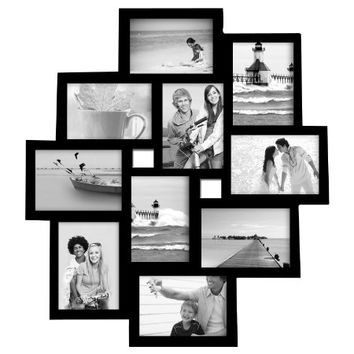 Adeco [PF0171] Decorative Black Wood Wall Hanging Collage Picture Photo Frame, 10 Openings, 3.5x5""