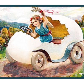 Vintage EasterYoung Girl in Her Egg Buggy Counted Cross Stitch or Counted Needlepoint Pattern