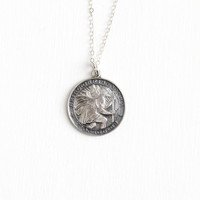 Vintage St. Christopher Protect Us Sterling Silver Pendant Necklace - Retro Dated 1964 Religious Repoussé Saint Catholic Coin Style Jewelry