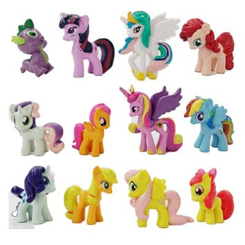 12pcs/pack 3-5cm 3D Cute little Rainbow Horse Unicorn Poni Miniatures Birthday Party Tool Action Toy figurine Doll Kid girl gift