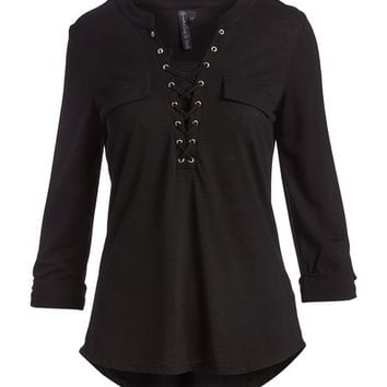 Black Grommet-Accent V-Neck Top - Plus