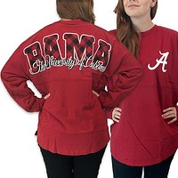 Alabama Crimson Tide Women's Plaid Logo Sweeper Long Sleeve Oversized Top Shirt