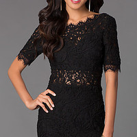 Short Open Back Lace Dress with Scalloped Details